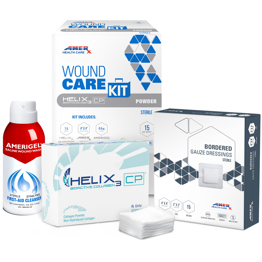 AMERX Collagen Powder 15-Day Wound Care Kit with 4x4 Bordered Gauze