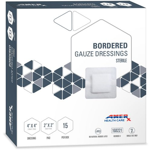 AMERX Bordered Gauze Dressings - 4 x 4