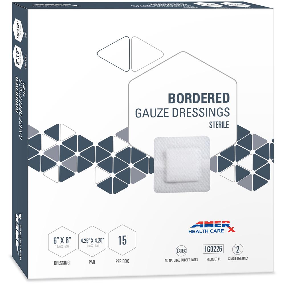 AMERX Bordered Gauze Dressings - 6 x 6