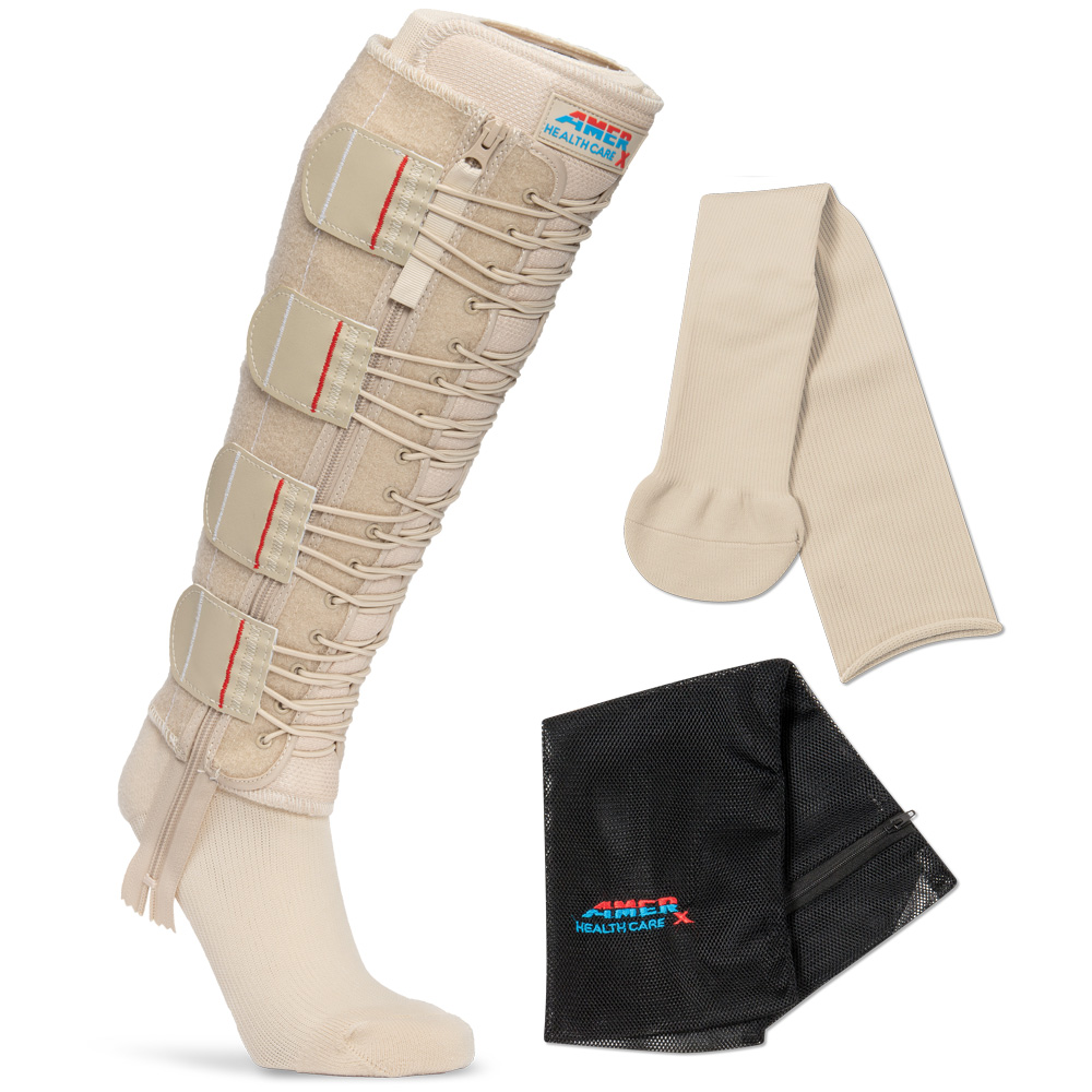 Tan EXTREMIT-EASE Compression Garment with Liner and Mesh Laundry Bag