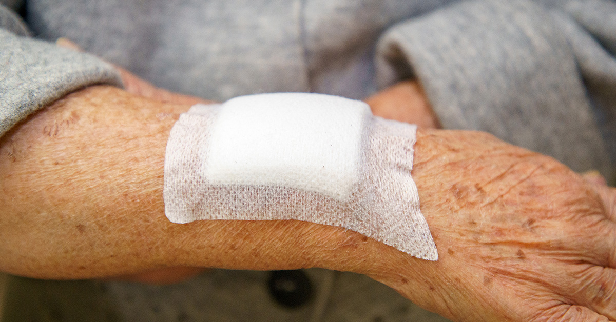 Elderly patient with wound and dressing