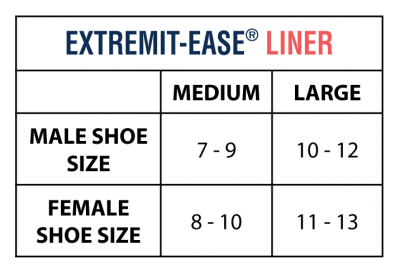 EXTREMIT-EASE Garment Liner Size Chart